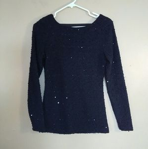 Jennifer Lopez XS Black Sequin Embellished Sweater